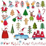 Christmas decorative items over white Stock Image