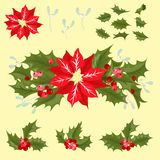 Christmas decorative leaves holly and branches   Stock Images