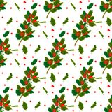 Christmas decorative leaves holly and branches with red berries evergreen winter flower floral plant seamless pattern Stock Photos