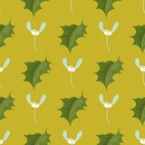 Christmas decorative leaves holly branches with winter berries seamless pattern evergreen floral plant vector Stock Photo