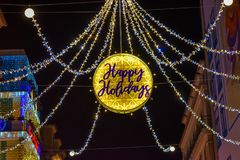 Free Christmas Decorative Lights Saying Happy Holidays Royalty Free Stock Photo - 111055265