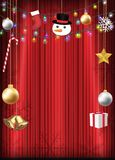 Christmas decorative object hang on red curtain. A christmas decorative object hang on red curtain stock illustration