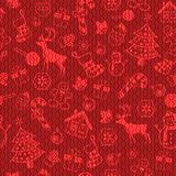Christmas decorative pattern. Christmas symbols or icon seamless decorative pattern on textured red background. Vector illustration Royalty Free Stock Photos