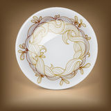 Christmas decorative plate with wreath from mistletoe Royalty Free Stock Photo