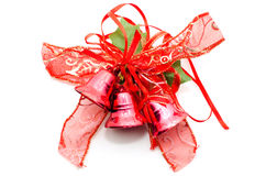 Christmas decorative red bow with christmas bells. Stock Photography