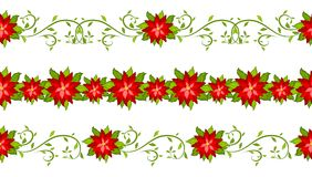 Christmas decorative set of poinsettia seamless borders. Isolated on white background vector Royalty Free Stock Images