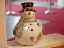 Christmas decorative Snowman. Happy New Year greeting card. Stock Photography