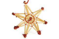 Christmas decorative star from straw Royalty Free Stock Photography