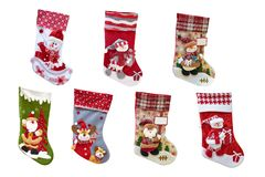 Free Christmas Decorative Stocking For Gifts. New Year`s Socks And Toys. Stock Images - 164262784