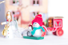 Christmas decorative toy snowman Stock Images