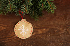 Christmas decorative toys on a wooden background Royalty Free Stock Photos
