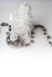 Christmas decorative tree and burning candle Stock Image