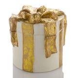 Christmas decorative white gift box Royalty Free Stock Image