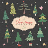 Christmas decorative winter tree. Hand drawn illustration. Royalty Free Stock Photos