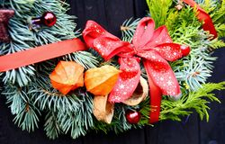 Christmas decorative wreath Royalty Free Stock Images