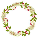 Christmas decorative wreath of natural  holly, ivy, mistletoe on white background. Vector illustration Stock Image