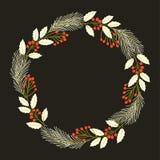 Christmas decorative wreath. Vector illustration. Stock Photo