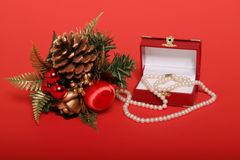 Christmas decors and present Royalty Free Stock Photography