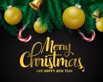 Free Christmas Decors Vector Background Template. Merry Christmas Greeting In Black Empty Space. Stock Image - 160110681
