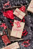 Christmas composition with holiday decoration stock images