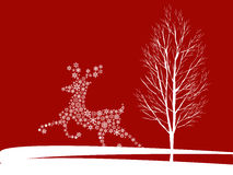 Christmas deer. Vintage vector illustration Stock Photos