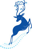 Christmas deer. Color illustration of Christmas deer with snowflakes Royalty Free Stock Images