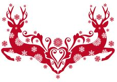 Christmas deer,. Red christmas deer with snowflakes,  background Royalty Free Stock Photo