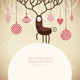 Christmas deer. Christmas and new year's  greeting card Stock Images