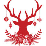 Christmas Deer Antlers with Flowers,Christmas Ball Collections. Stock Photography