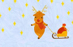 Christmas deer with a bag of gifts on a sled royalty free illustration