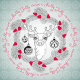 Christmas deer, balls and handwritten words Have a Holly Jolly. Hand drawn  floral  frame with cute Christmas deer face, pine branches, cones, balls and Royalty Free Stock Photography