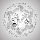 Christmas deer, balls and handwritten words Have a Holly Jolly. Hand drawn  floral  frame with cute Christmas deer face, pine branches, cones, balls and Stock Photography