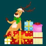 Christmas deer with banner , happy winter xmas holiday animal greeting card, santa helper reindeer vector Royalty Free Stock Image