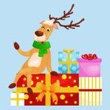 Christmas deer with banner , happy winter xmas holiday animal greeting card, santa helper reindeer vector Royalty Free Stock Photo