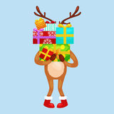 Christmas deer with banner isolated, happy winter xmas holiday animal greeting card, santa helper reindeer vector Royalty Free Stock Photo