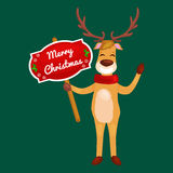 Christmas deer with banner isolated, happy winter xmas holiday animal greeting card, santa helper reindeer vector Stock Images