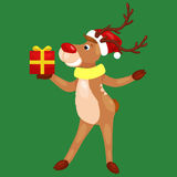 Christmas deer with banner isolated, happy winter xmas holiday animal greeting card, santa helper reindeer vector Stock Photography