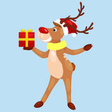 Christmas deer with banner isolated, happy winter xmas holiday animal greeting card, santa helper reindeer vector Royalty Free Stock Photos