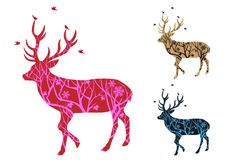 Christmas deer with birds, vector Royalty Free Stock Photo