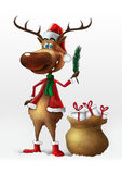 Christmas deer with branch isolated Stock Photography