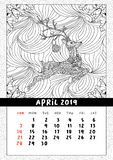 Christmas deer calendar, calendar april 2019 year. Coloring book poster for adults and kids with traditional holiday symbol reindeer with ball. Black and white royalty free illustration