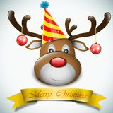 Christmas Deer With Celebration Hat. Stock Photography