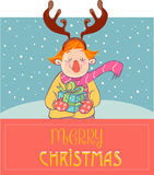 Christmas deer child wearing mask Royalty Free Stock Images