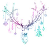 Christmas deer with decoration. Vector, EPS10 Stock Photo