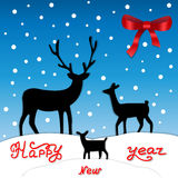 Christmas deer, family and the little fawn. Falling snow on the blue background. Illustration of New year. Stock Photography