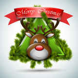 Christmas deer with fir icon Royalty Free Stock Photos