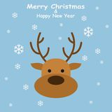 Christmas Deer in flat style with snowflakes on blue background. Vector Illustration Stock Photo