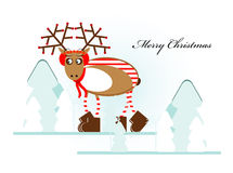 Christmas deer in forest. Christmas deer in winter forest Stock Photos