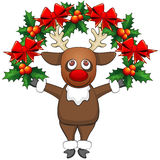 Christmas deer with garland Royalty Free Stock Images