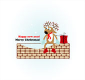 Christmas deer with gift Stock Image